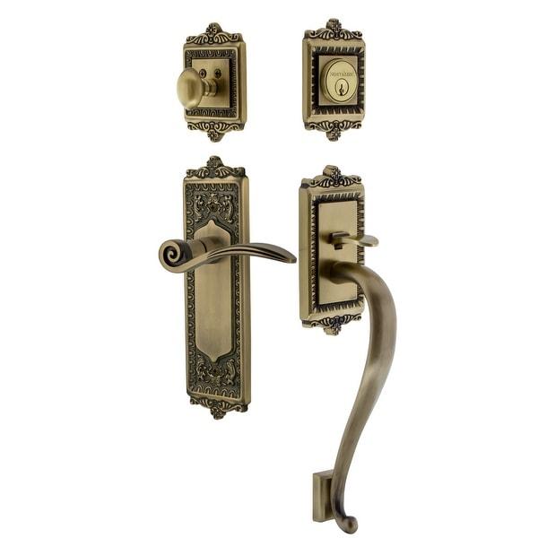 Nostalgic Warehouse EADSWN_ESET_234_SG_LH Egg & Dart Left Handed Sectional Single Cylinder Keyed Entry Handleset with S Grip