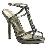 Johnathan Kayne Women's Dante T-Strap Sandal Pewter Mirror Patent