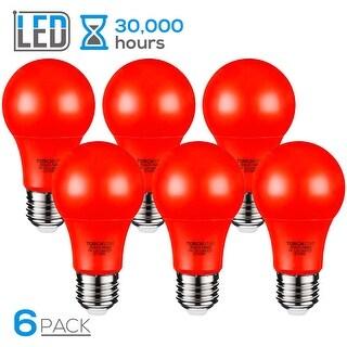 TORCHSTAR 7W Red LED A19 Colored Light Bulb, E26/E27 Base, 30,000hrs, Pack of 6