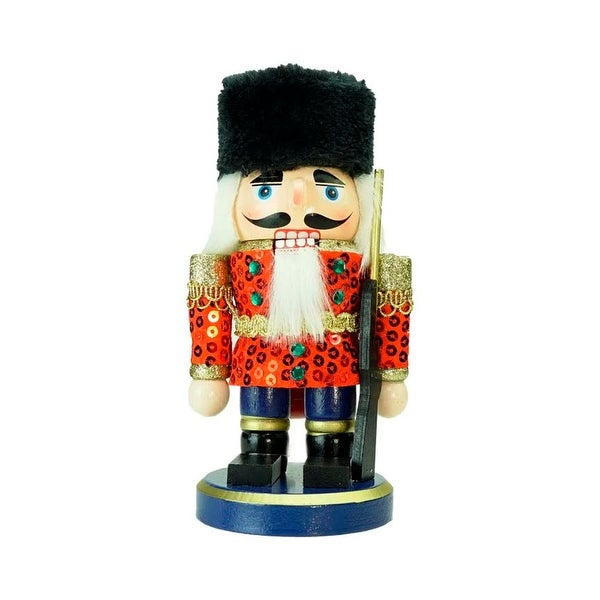 "7"" Red, Gold and Black Wooden Christmas Chubby Nutcracker Soldier"