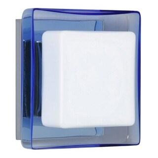 Besa Lighting 1WS-773592 Alex 1 Light ADA Compliant Halogen Bathroom Sconce with Opal / Blue Glass Shade