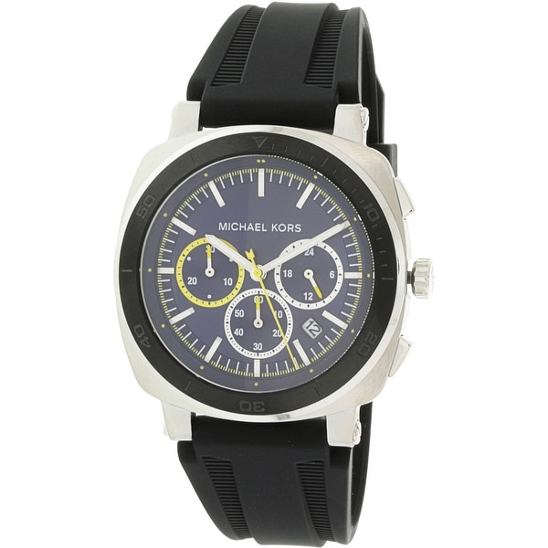 0f93a854a59b Shop Michael Kors Men s Bax Silver Silicone Japanese Quartz Fashion Watch - Free  Shipping Today - Overstock - 18618993