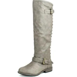 Bamboo Womens Montage-83 Knee High Contrast Zipper Metal Stud Buckle Women's Riding Boot