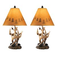 Ashley Furniture L316984 - Set of 2 Derek Brown Poly Table Lamp w/ Paper Silhouette Shade
