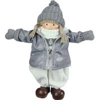 "12"" Gray and White Cheerful Standing Girl Christmas Tabletop Decoration"