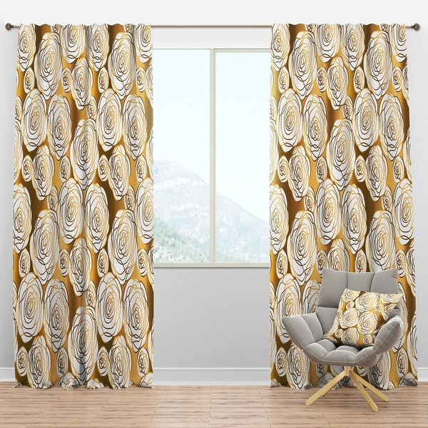 Designart 'Golden Floral III' Mid-Century Modern Blackout Curtain Panel. Opens flyout.