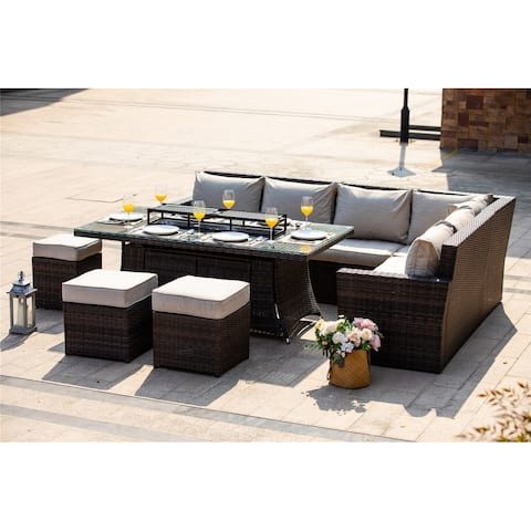 9 Pieces Patio Gas Fire Rectangle Table Dinging Sofa Set with Cushions by Direct Wicker