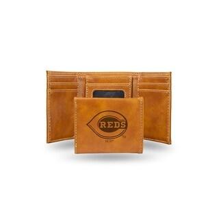 4 Brown MLB Cincinnati Reds Laser Engraved Trifold Wallet N A