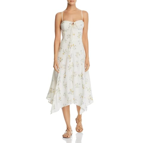 WAYF Womens Hampshire Midi Dress Floral Tie-Front - Ivory Ditzy