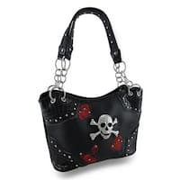 Black Bucket Style Handbag with Embroidered Roses and Rhinestone Skull