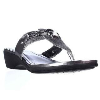 Marc Fisher Amina2 Thong Flip Flop Sandals, Pewter
