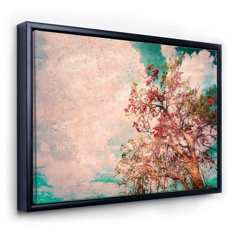 Designart 'Vintage Flowering Tree' Farmhouse Framed Canvas Wall Art Print