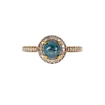 14k Gold Pave White & Blue Diamond Ring