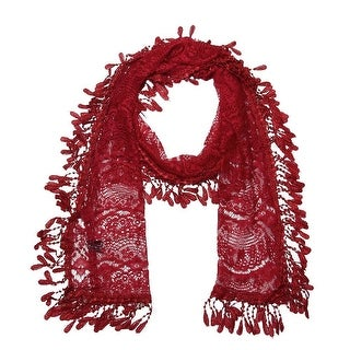 """Women's Sheer Lace Scarf With Fringe - Burgundy - 70"""" x 11"""""""