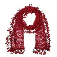 "Women's Sheer Lace Scarf With  Fringe - Burgundy - 70"" x 11"""