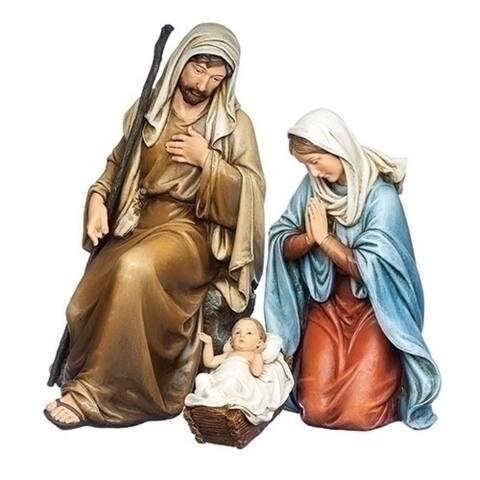 3 Piece Set Kneeling Holy Family Resin Christmas Figurine 14.75