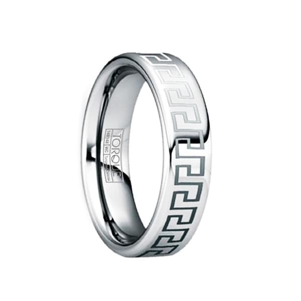 QUINTILIANUS Engraved Greek Key Tungsten Ring with Polished Finish by Crown Ring - 6mm