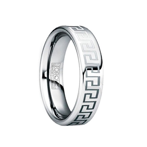 QUINTILIANUS Engraved Greek Key Tungsten Ring with Polished Finish by Crown Ring