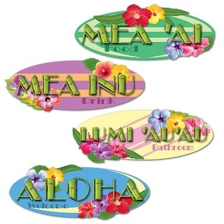 "Club Pack of 48 Multi-Colored Tropical Themed Hawaiian Sign Cutout Decorations 14"" - Multi"