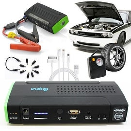 Indigi® 12800mAh HeavyDuty Rugged Portable Automotive Jump Starter PowerBank w/ Hard Carrying Case & Tire Inflator Included