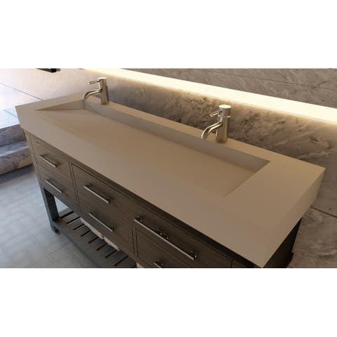 """Pyramid 72"""" Solid Surface Bathroom Vanity Top"""