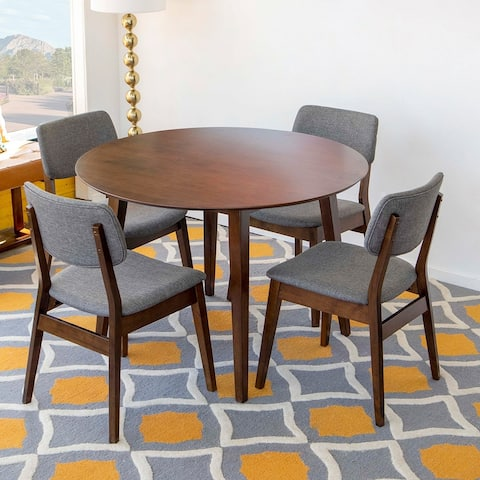 Hartley 5-Piece Mid-Century Modern Round Dining Set with 4 Linen Dining Chairs in Grey