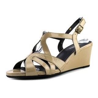 Vaneli Miriam Women  Open Toe Patent Leather Tan Wedge Sandal