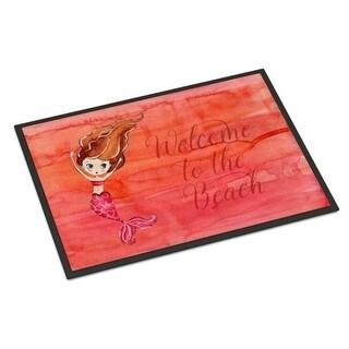 Carolines Treasures BB8516MAT Mermaid Welcome Red Indoor or Outdoor Mat - 18 x 27 in.
