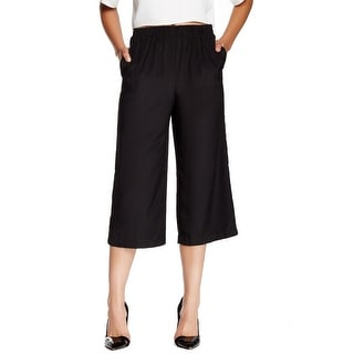Wayf NEW Deep Black Women's Large L Culotte Pull-On Cropped Pants
