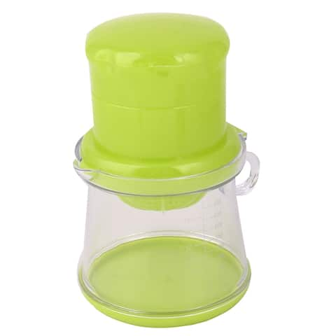 Unique Bargains Home Plastic Cylindrical Head Ring Handle Fruits Manual Juicer Squeezer Green