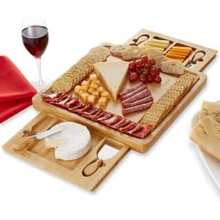 Casafield Bamboo Cheese Board Gift Set w/2 Trays & 4 Knives