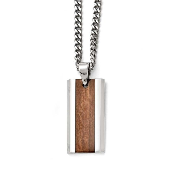 Chisel Stainless Steel Polished Brown Wood Inlay Enameled Necklace - 20 in