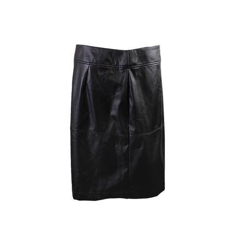 Alfani Black Faux Leather A-Line Skirt 4