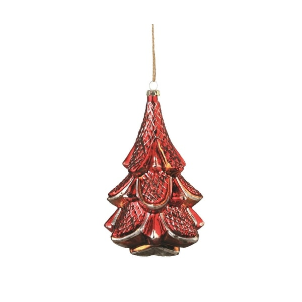"6"" Distresssed Red, Silver and Copper Glass Vintage Christmas Tree Holiday Ornament"