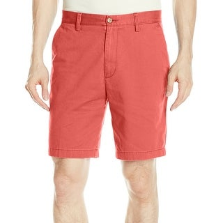 Nautica NEW Red Mens Size 36 Solid Classic Fit Flat Front Chino Shorts