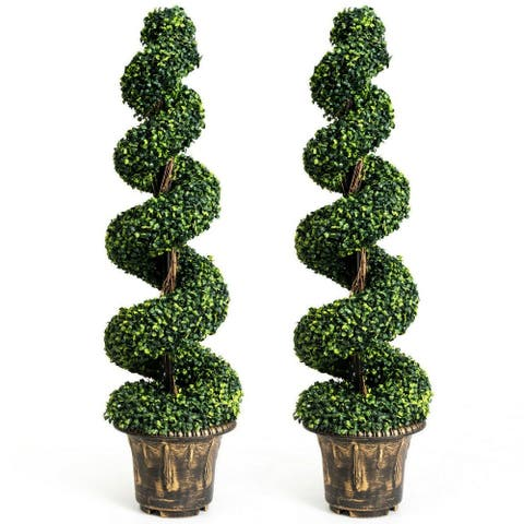 2-Set 4' Artificial Décor Green Boxwood Spiral Tree - Pictured