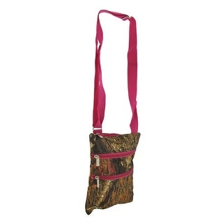 Forest Camo with Hot Pink Trim Crossbody Travel Bag - Brown