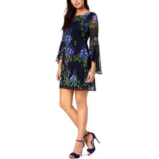 Jessica Howard Womens Petites Party Dress Floral Bell Sleeves