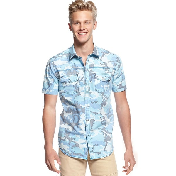 Bar III Woven-Hang Mens Faded Neon Blue Camouflage Casual Shirt Short Sleeve