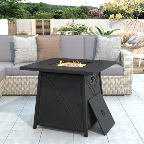 Outdoor Propane Gas Fire Pit with Stainless Steel Heater, Control Knob