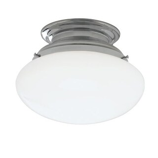 "Norwell Lighting 5370 Clayton Single Light 12"" Wide Semi-Flush Ceiling Fixture with White Glass Shade"
