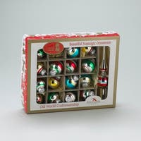 17-Piece Early Years Retro Mini Glass Ball and Tree Topper Christmas Ornament Set - Multi