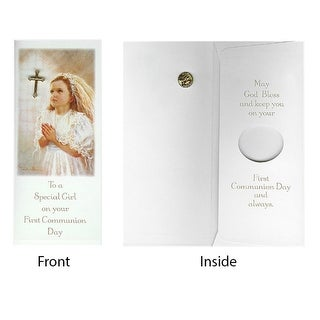 Club Pack of 24 Girl First Communion Day Gift Card & Cross Pin #40119