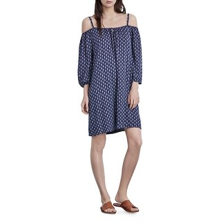 Velvet Womens Casual Dress Printed Cold Shoulder - s