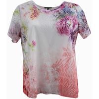 Women Plus-Size Short Sleeve Laced Fashion Knit Blouse Tee T Shirt Top Floral G17027L