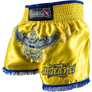 Hayabusa Garuda Muay Thai Fight Shorts - Yellow/Blue - boxing mma trunks