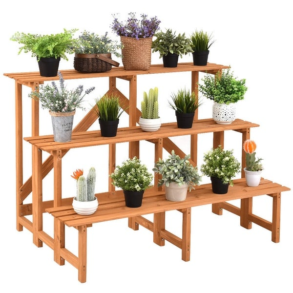 Costway 3 Tier Wide Wood Plant Stand Flower Pot Holder Display Rack. Opens flyout.
