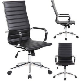 2xhome Executive Ergonomic High Back Eames Office Chair Ribbed PU Leather Adjustable for Manager Conference Computer Desk Black