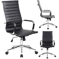2xhome High Back Office Chair Ribbed PU Leather Conference Room Black