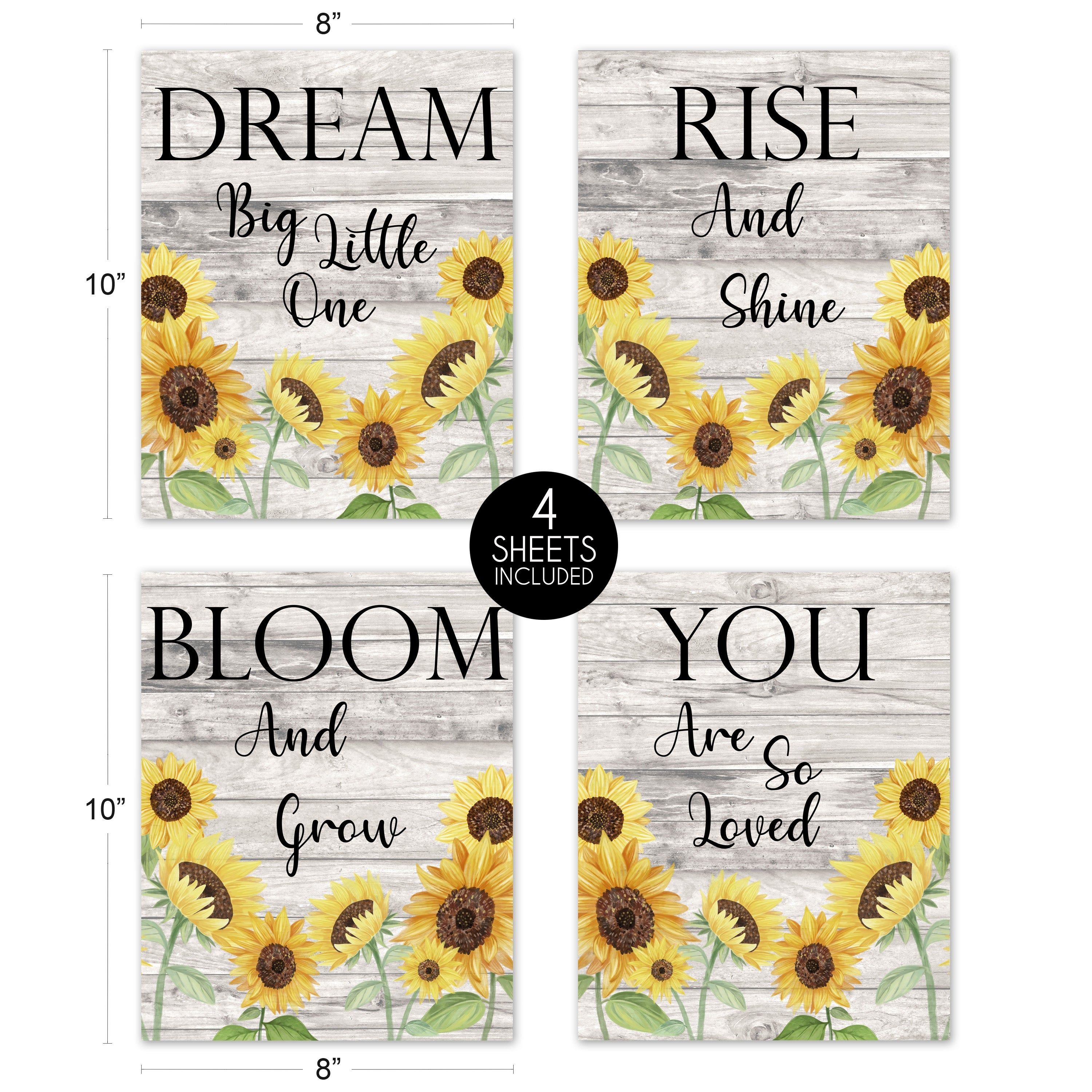 Yellow Boho Floral Sunflower Wall Decor Art Prints Set of 12   Farmhouse  Wood Grain Rustic Watercolor Flower Vintage Country